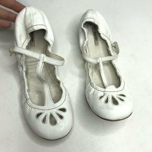MIU MIU Patent Leather White T Strap Ballet Flats